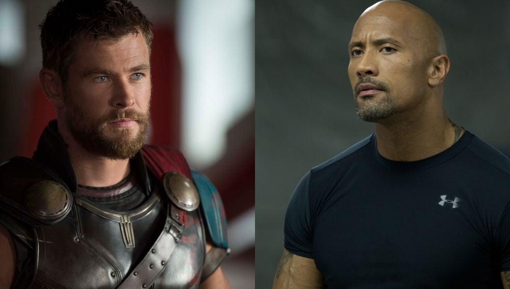 Chris Hemsworth y Dwayne Johnson