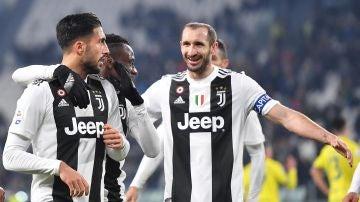 Los jugadores de la Juventus celebran un gol ante el Chievo
