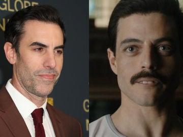 Sacha Baron Cohen y Rami Malek como Freddie Mercury