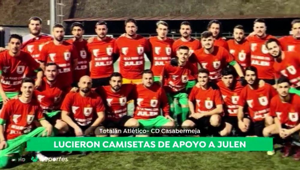 El Totalán Atlético luce camisetas de apoyo a Julen