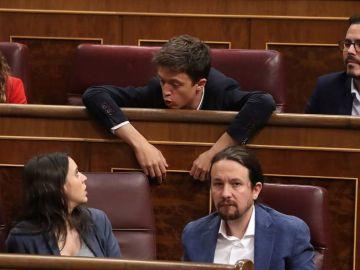 Errejón, en el Congreso, junto a Irene Montero, Alberto Garzón y Pablo Iglesias.