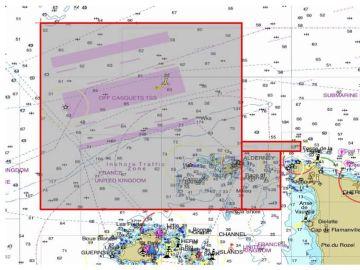 La zona en la que se está buscando el avión en el que iba Emiliano Sala
