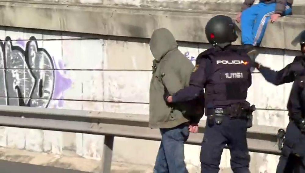 Un taxista detenido en el corte de la M-40 de Madrid