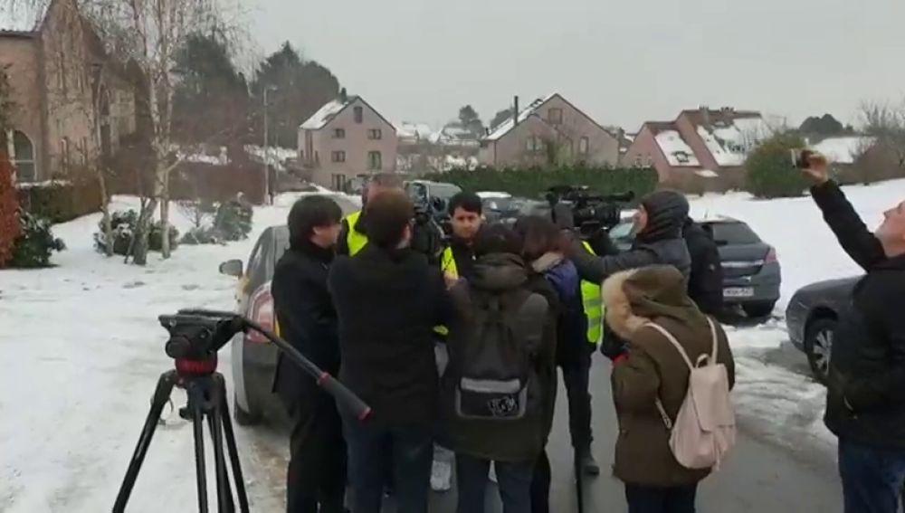 Taxistas belgas y catalanes han visitado a Puigdemont en Bruselas