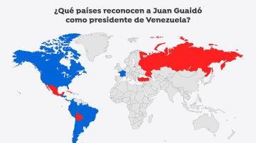 Imagen de apoyos y rechazos a Juan Guaidó