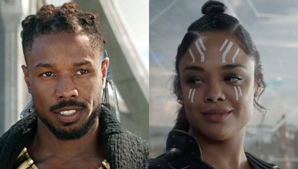Valkiria y Killmonger de Marvel