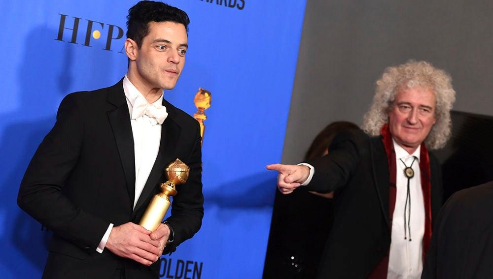 Brian May con Rami Malek, protagonista de 'Bohemian Rhapsody'