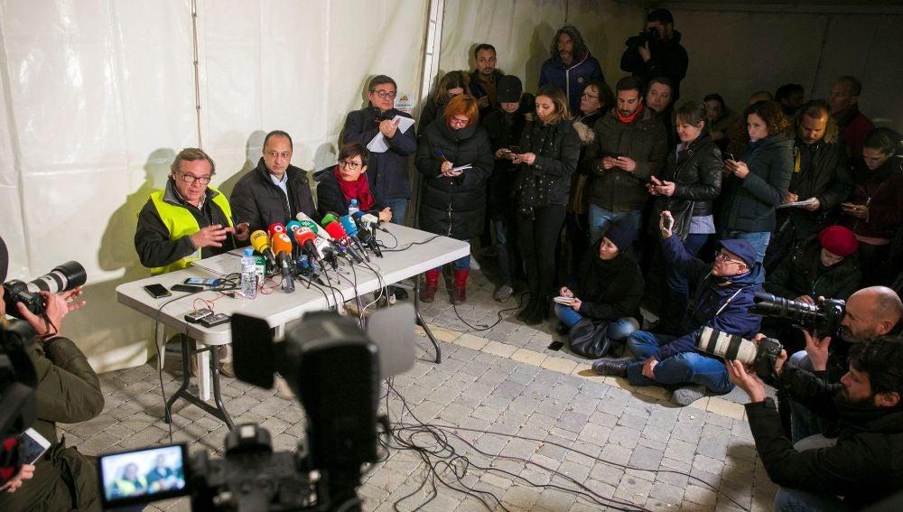 Periodistas en una rueda de prensa sobre el rescate de Julen