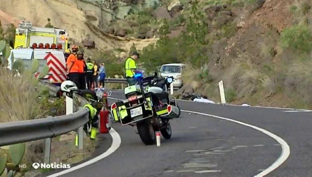 Accidente de tres motoristas en Gran Canaria