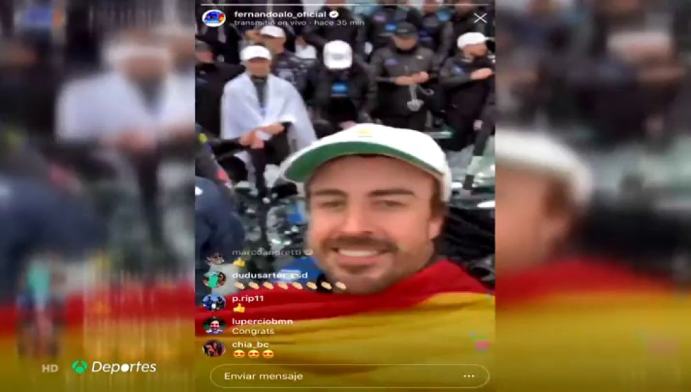Fernando Alonso, exultante en redes sociales tras ganar las 24 Horas de Daytona