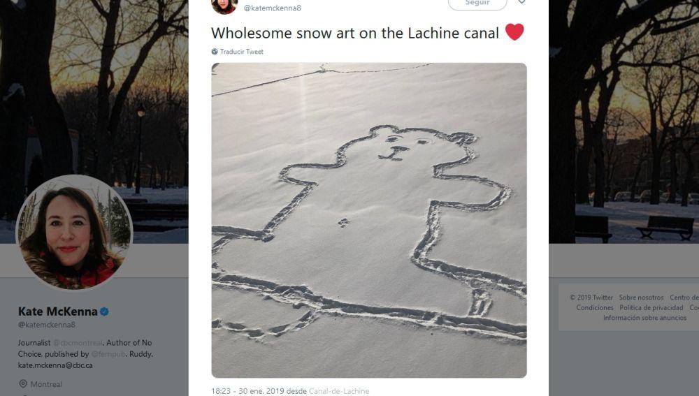 Oso pintado en la nieve