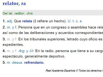 Definición de la RAE de relator