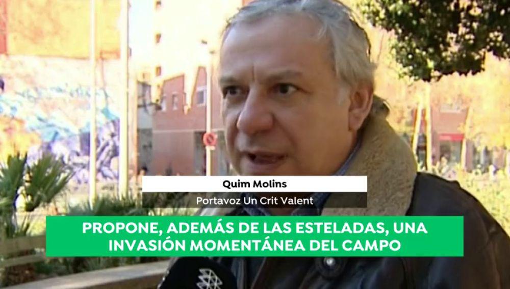 """Quim Molins, portavoz de 'Crit Valent', propone una invasión de campo """"pacífica"""" durante el Clásico"""