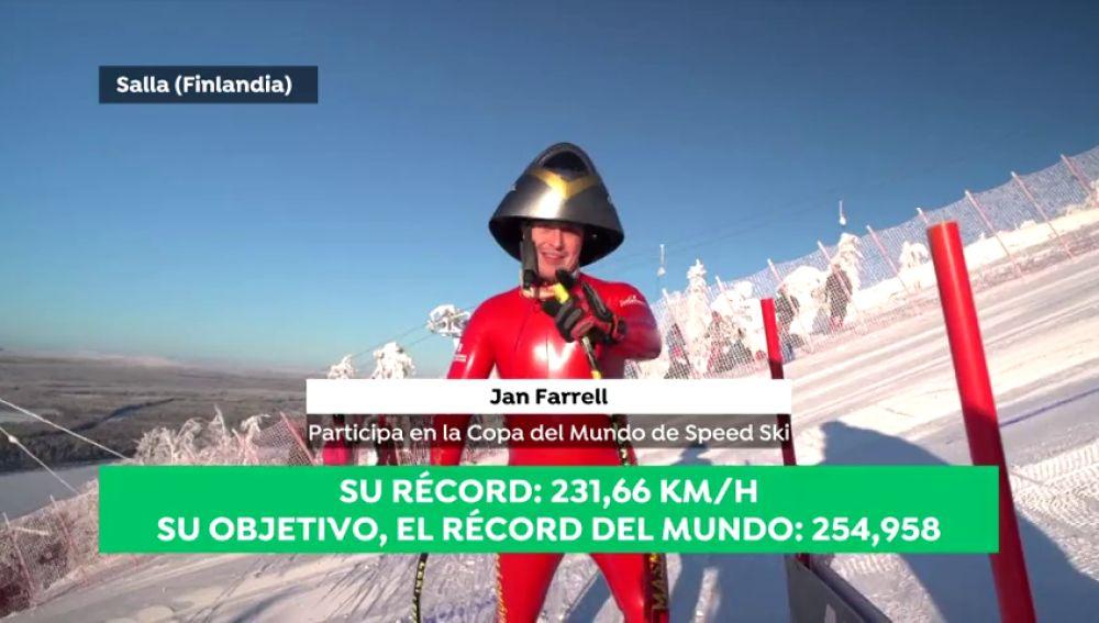 Jan Farrell quiere batir su propio récord de 231 km/h sobre los esquís