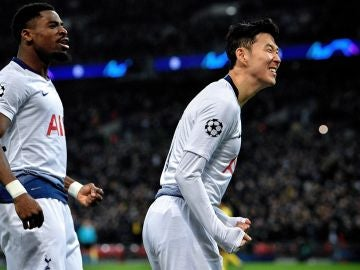 Heung-min Son celebra su gol ante el Dortmund