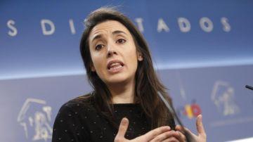 La portavoz de Unidos Podemos en el Congreso, Irene Montero