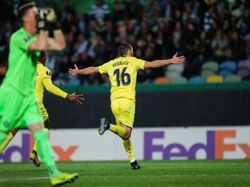 Pedraza celebra su gol ante el Sporting