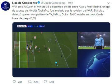 La UEFA explica el por qué se anuló el primer gol del Ajax frente al Real Madrid