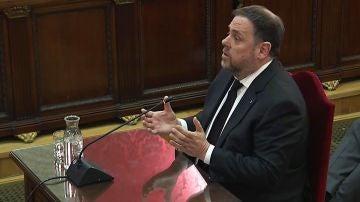 Oriol Junqueras durante su declaración en el juicio al 'procés'