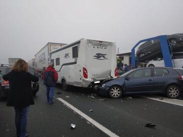 Accidente múltiple en la AP-1 en el término burgalés de Briviesca