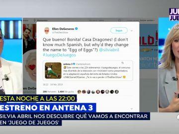 La reacción de Silvia Abril al divertido mensaje de Ellen DeGeneres por el estreno de 'Juego de juegos'