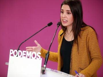 La portavoz de Podemos en el Congreso, Irene Montero