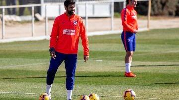 Diego Costa en un entrenamiento con el Atlético de Madrid