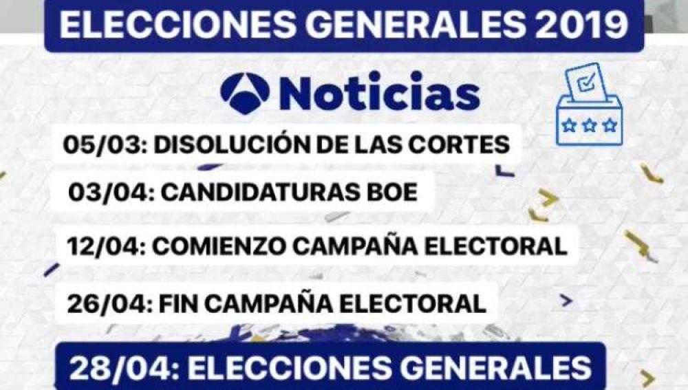 Calendario electoral generales 2019