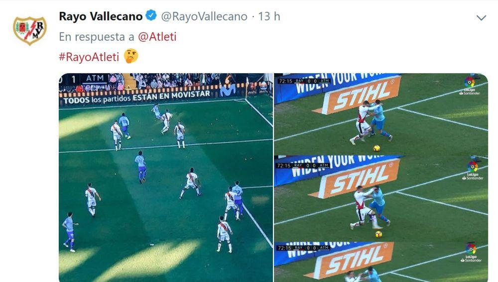 El tuit del Rayo en el que contesta al Atlético por la polémica arbitral