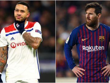Memphis Depay y Leo Messi
