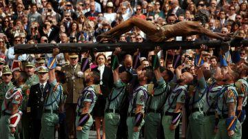María Dolores de Cospedal en la procesión del Cristo de la Buena Muerte en Málaga