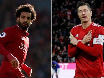 Mohamed Salah y Robert Lewandowski