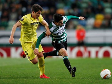 Momento del partido entre Sporting y Villarreal