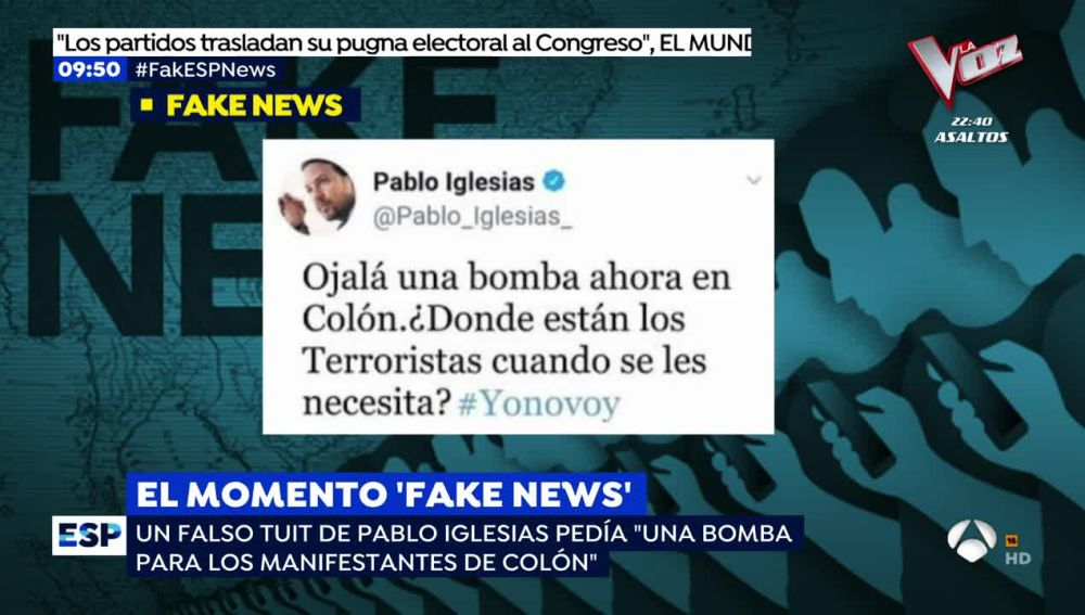 La 'fake new' sobre Pablo Iglesias.