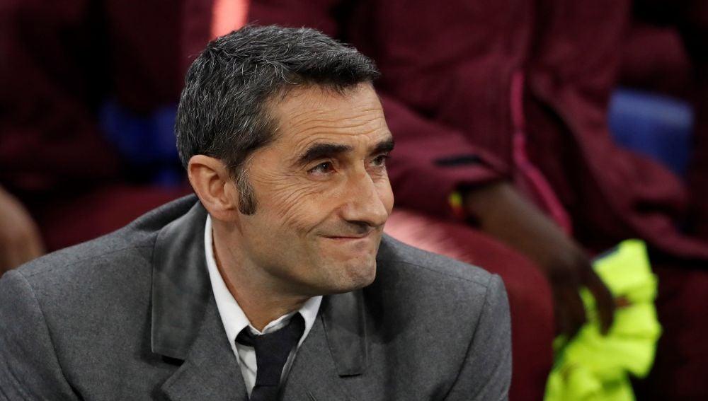 Ernesto Valverde, en el estadio del Olympique de Lyon