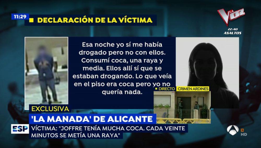 La declaración de la víctima de la 'Manada de Callosa'.