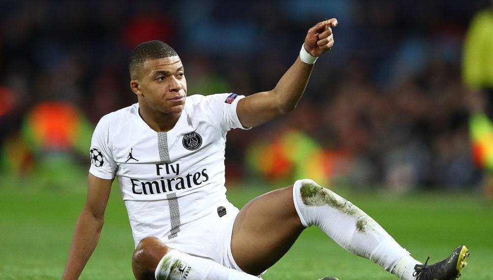 Mbappé, durante un partido con el PSG