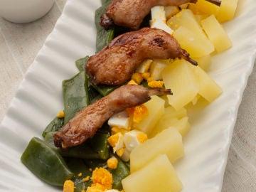 Judías verdes con patata y muslos de codorniz