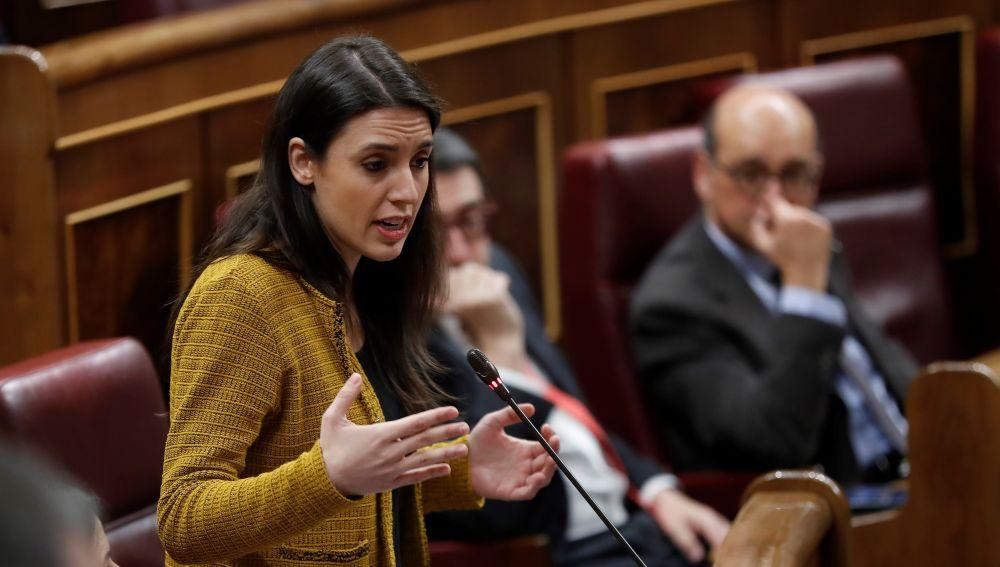 La portavoz de Podemos Irene Montero