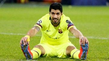 Luis Suárez, en su partido contra el Olympique de Lyon