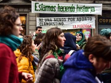 Protesta a favor del aborto en Argentina