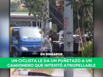 Un ciclista deja en el suelo de un puñetazo a un camionero que intentó atropellarle
