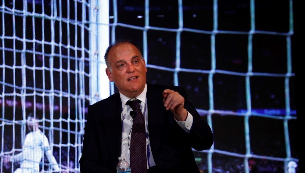 Javier Tebas, durante una conferencia