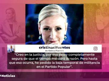 Cristina Cifuentes pide la baja temporal de militancia en el PP