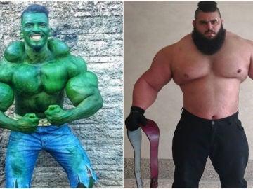 El 'Hulk' brasileño, Romario dos Santos Alves, y el 'Hulk iraní, Sajad Gharibi