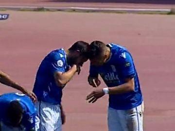 La polémica celebración de dos jugadores del Melilla