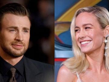 Chris Evans y Brie Larson, los superhéroes Capitán América y Capitana Marvel