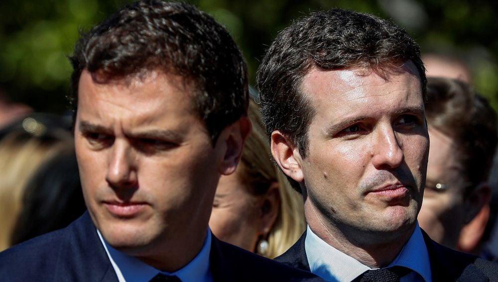 El presidente del PP, Pablo Casado, y el presidente de Ciudadanos, Albert Rivera