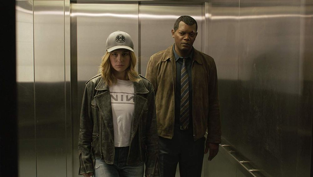 Brie Larson y Samuel L. Jackson en 'Capitana Marvel'