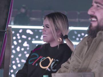 """Antonio Orozco y Karol G encantados con el ensayo de Teresa Ferrer y Marcelino: """"Me encanta que siempre estéis sonriendo"""""""